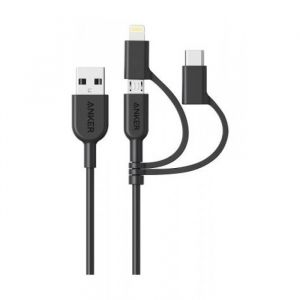 Anker Powerline II, Lightning Charging Cable, USB-A to 3 in 1, Black - A8436H11