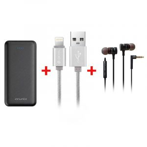 AWEI bundle, Portable Charger 20000 mAh + Wired headset + Cable For iPhone 30 cm - BUN-P31K