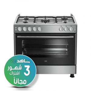 For the website only,,,, Beko Gas Cooker 90X60 5 Burner-GG15120FX  - (Shahed VIP subscription for 3 months)