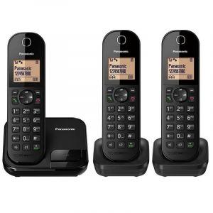 باناسونيك هاتف لاسلكي 3 مجموعات، معرف المتصل، ذاكرة هوية المتصل، حظر المكالمات المزعجة، أسود - KX-TGC413UEB