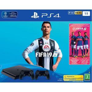 جهاز ألعاب بلاي ستيشن سوني إصدار رابع سعة التخزين 1تيرا بايت, فيفا 2019 , أسود - 1TBF-FIFA19/DS4