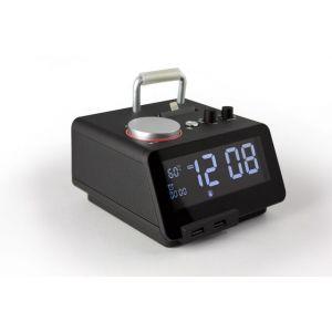 هوم تايم C21pro مكبر صوت مع قاعدة أيفون للشحن ومنبه وبلوتوث ،